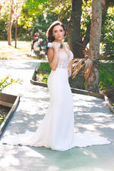 Martina Liana 'Illusion' size 4 used wedding dress front view on bride