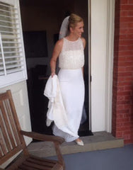 Pronovias 'Yamel' size 10 used wedding dress front view on bride