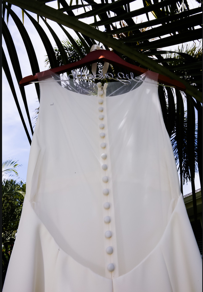 Amsale 'Heather' size 6 used wedding dress back view on hanger