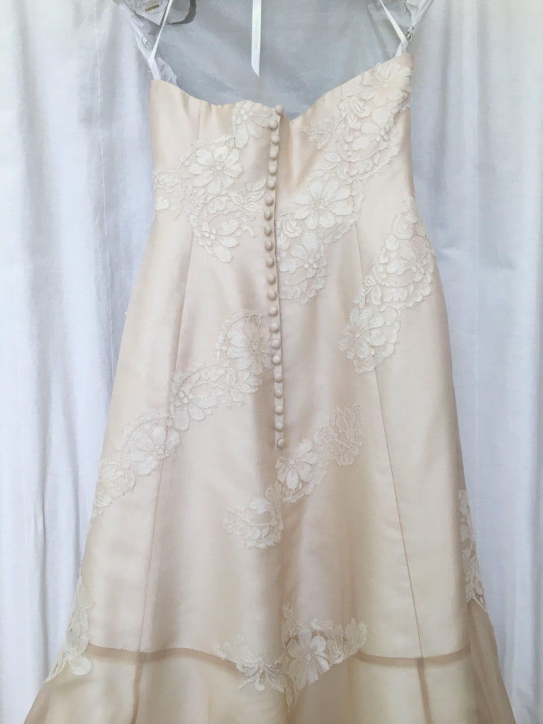 L'Ezu Atelier of Beverly Hills 'Custom' size 8 used wedding dress back view on hanger