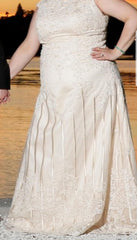 Custom 'Column Lace' size 16 new wedding dress front view on bride