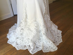 Essence of Australia 'Lace Cap Sleeve' size 8 new wedding dress view of train