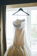 Marchesa 'Strapless Mermaid' size 2 used wedding dress front view on hanger