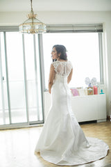 Jewel 'Illusion Neck' size 6 used wedding dress back view on bride