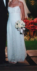 Anne Barge White Silk Column Gown - Anne Barge - Nearly Newlywed Bridal Boutique - 3