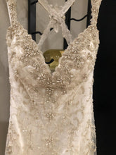 Load image into Gallery viewer, Kitty Chen 'Evelyn' size 2 used wedding dress front view on hanger