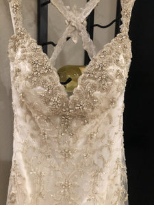 Kitty Chen 'Evelyn' size 2 used wedding dress front view on hanger