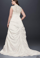 David's Bridal 'Cap Sleeve Satin' size 24 new wedding dress back view on model