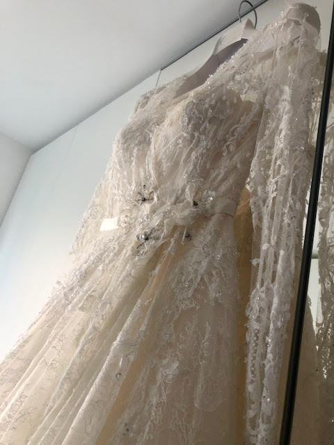 Elie Saab 'Birgit' size 6 used wedding dress front view on hanger