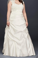 David's Bridal 'Cap Sleeve Satin' size 24 new wedding dress front view on model