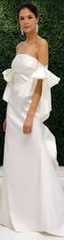 Sachin & Babi 'Off the Shoulder' size 10 used wedding dress front view on model