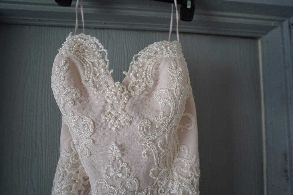 Chic Nostalgia 'Lennox' size 8 used wedding dress front view close up