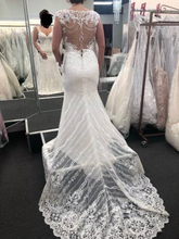 Load image into Gallery viewer, Mon Cheri Bridal 'Eden' size 10 used wedding dress back view on bride