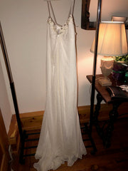 Carolina Herrera 'Chiffon' size 12 used wedding dress front view on hanger