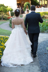 Martina Liana '821' size 8 used wedding dress back view on bride