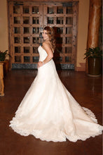 Load image into Gallery viewer, Alfred Angelo '2438' size 4 used wedding dress side view on bride