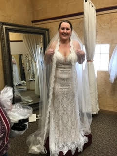 Mon Cheri Bridal 'Enchanting' size 12 new wedding dress front view on bride