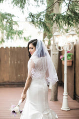 Jewel 'Illusion Neck' size 6 used wedding dress back view close up on bride