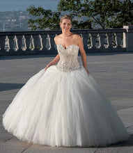 Load image into Gallery viewer, Eddy K. 'CT112' size 6 used wedding dress front view on bride