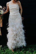 Load image into Gallery viewer, Marchesa 'Ostrich Feathered' size 4 used wedding dress front view on bride