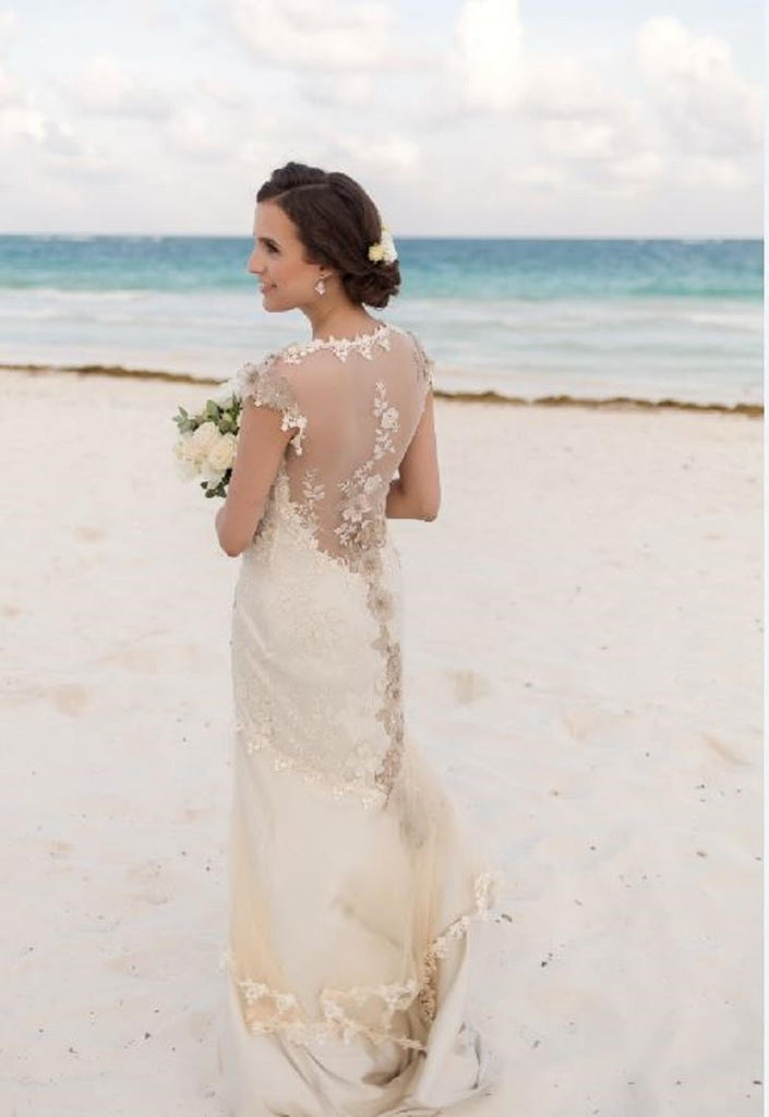 Claire Pettibone 'Viola' size 2 used wedding dress back view on bride