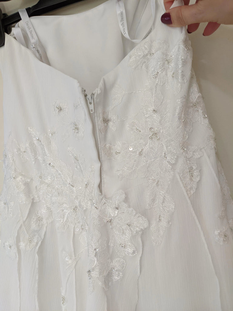David's Bridal 'Strapless' size 4 used wedding dress back view flat