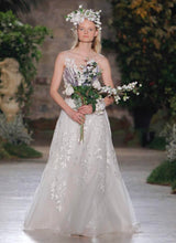 Load image into Gallery viewer, Reem Acra 'Essence of Joy' size 2 used wedding dress front view on model