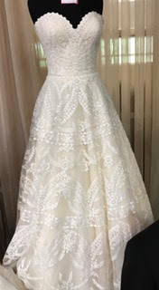 Custom 'Paisley' size 14 used wedding dress front dress on mannequin