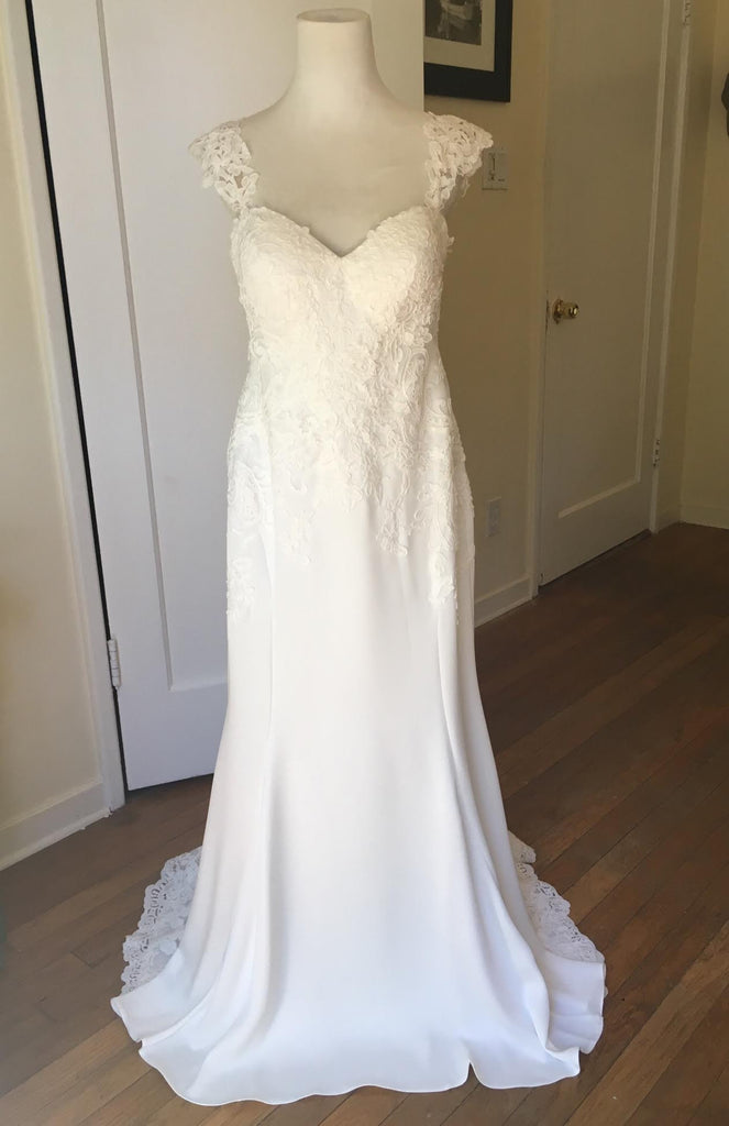 Essence of Australia 'Lace Cap Sleeve' size 8 new wedding dress front view on mannequin