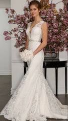 Romona Keveza 'Legends' size 4 used wedding dress front view on model