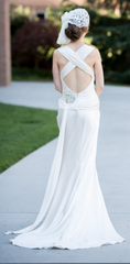 Elizabeth Fillmore 'Exquisite' size 8 used wedding dress back view on bride