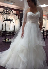 Watters 'Selena' size 6 used wedding dress front view on bride