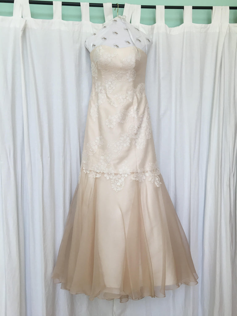 L'Ezu Atelier of Beverly Hills 'Custom' size 8 used wedding dress front view on hanger