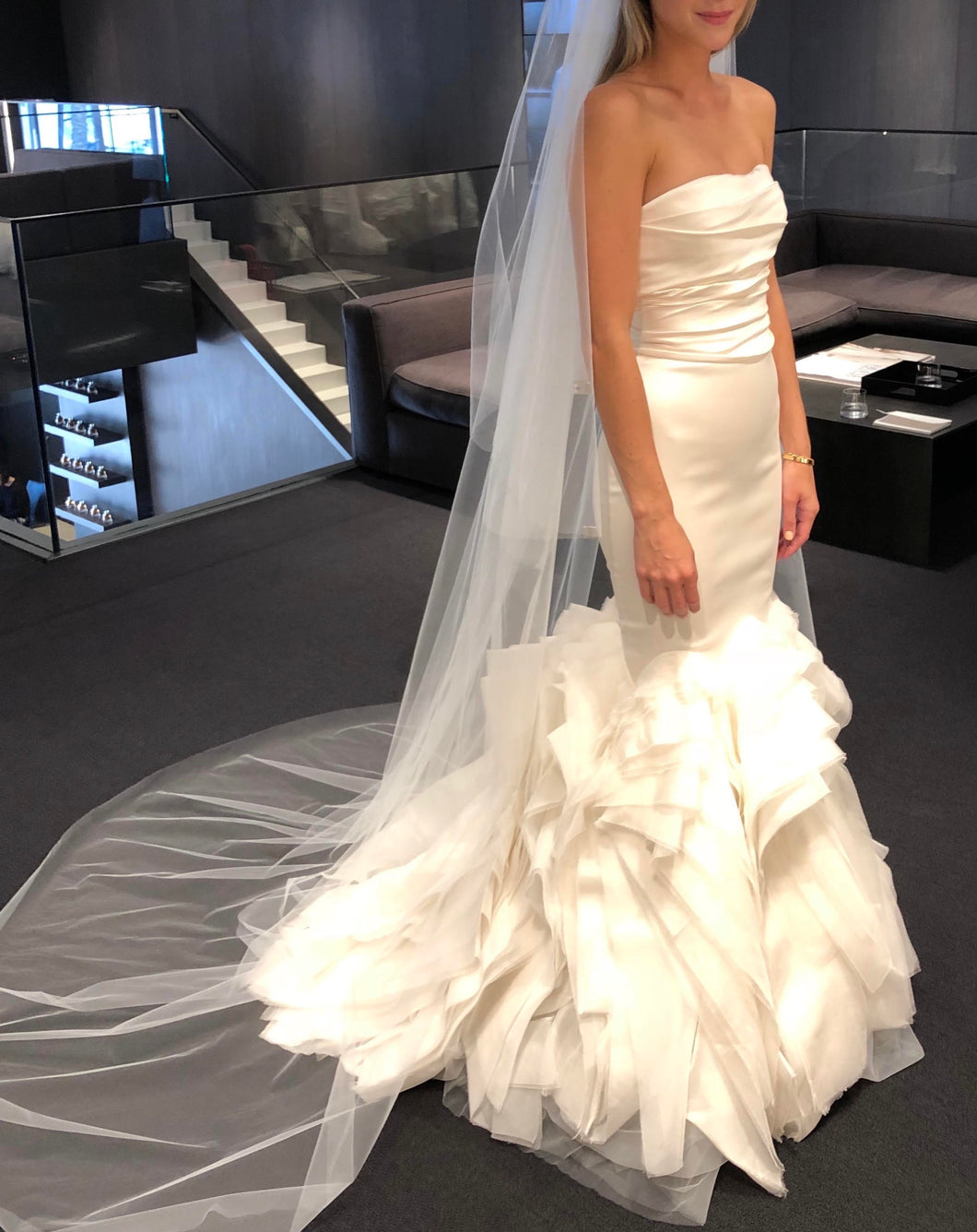 Vera Wang 'Ethel-Ivory' size 2 used wedding dress front view on bride
