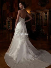Load image into Gallery viewer, Custom '2001' size 12 new wedding dress back view on model