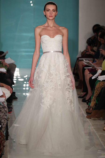 Reem Acra 'Dreamy' size 12 used wedding dress front view on model