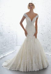 Mori Lee 'Karisma' size 8 used wedding dress front view on model