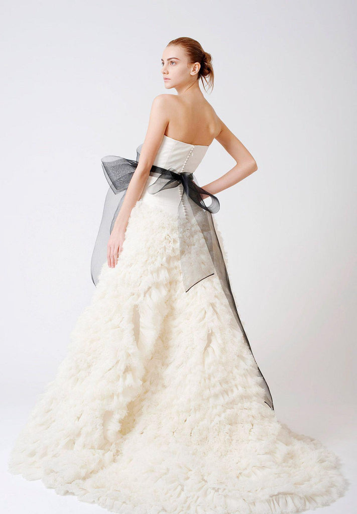Vera Wang 'Eleanor' Feather Tulle Floral Dress - Vera Wang - Nearly Newlywed Bridal Boutique - 2