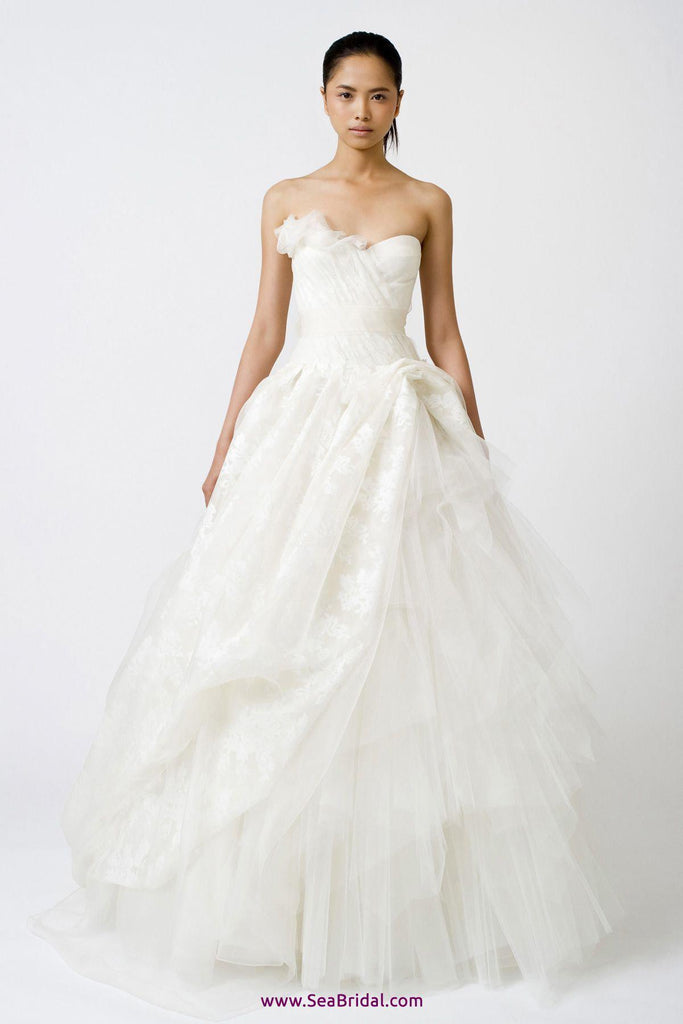 Vera Wang 'Freida' Painted Organza Dress - Vera Wang - Nearly Newlywed Bridal Boutique - 1