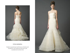 Vera Wang 'Georgina' size 6 used wedding dress front/back views on model