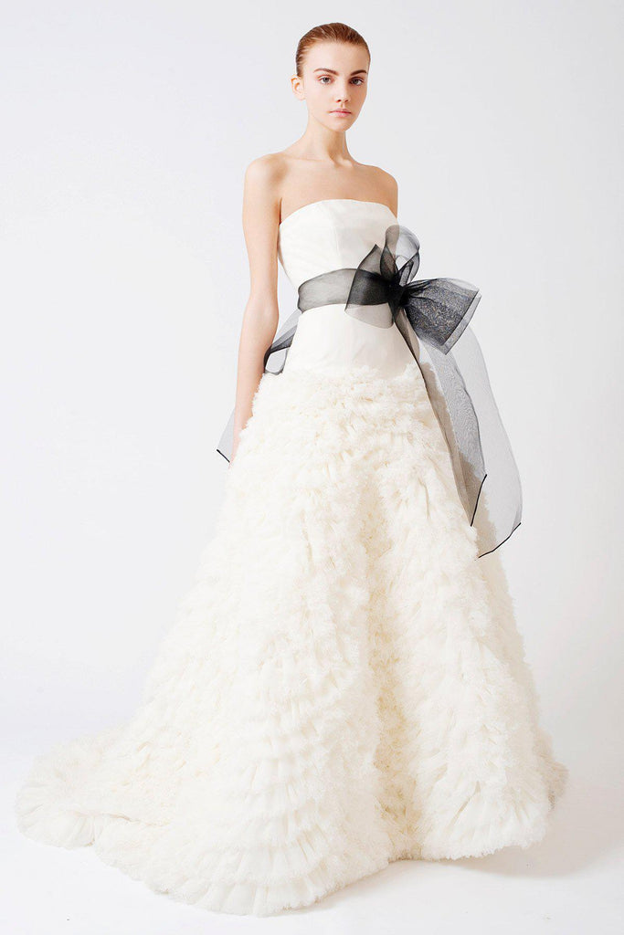 Vera Wang 'Eleanor' Feather Tulle Floral Dress - Vera Wang - Nearly Newlywed Bridal Boutique - 1