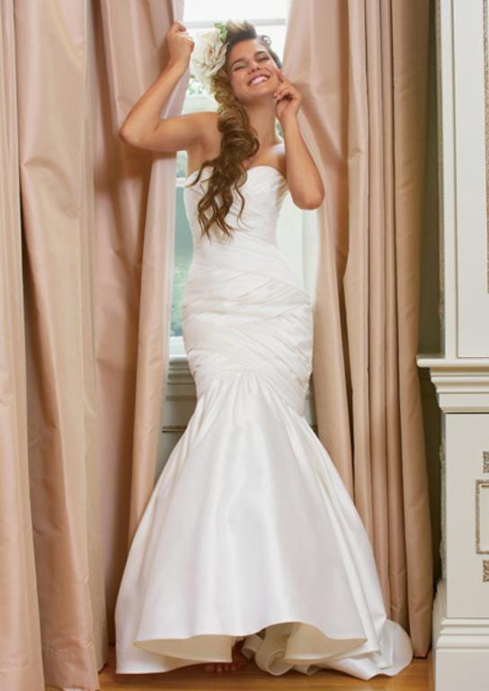 Watters Basketweave Trumpet Gown - Watters - Nearly Newlywed Bridal Boutique