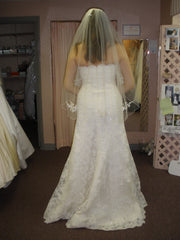 San Patrick 'White' size 12 used wedding dress back view on bride
