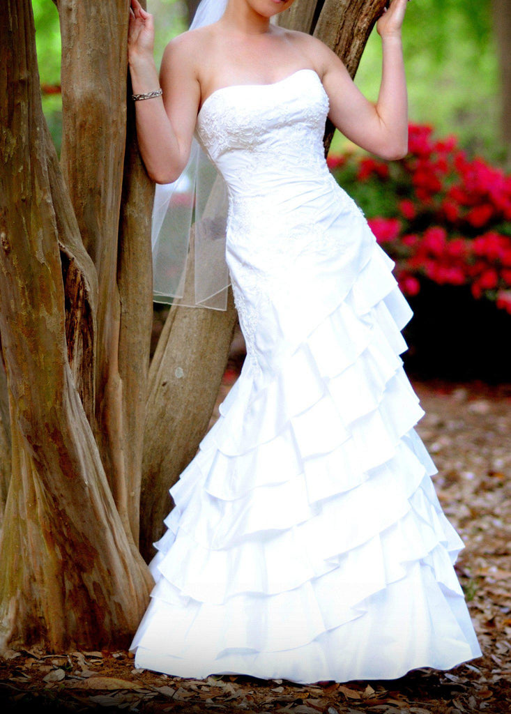 Allure Romance Fit and Flare Strapless Wedding Gown - Allure - Nearly Newlywed Bridal Boutique - 1