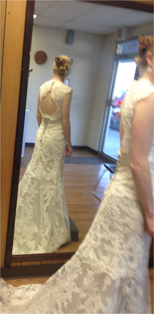 Allure Bridals '2619' size 2 used wedding dress back view on bride