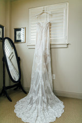 Ashley and Justin '10413' size 8 used wedding dress back view on hanger