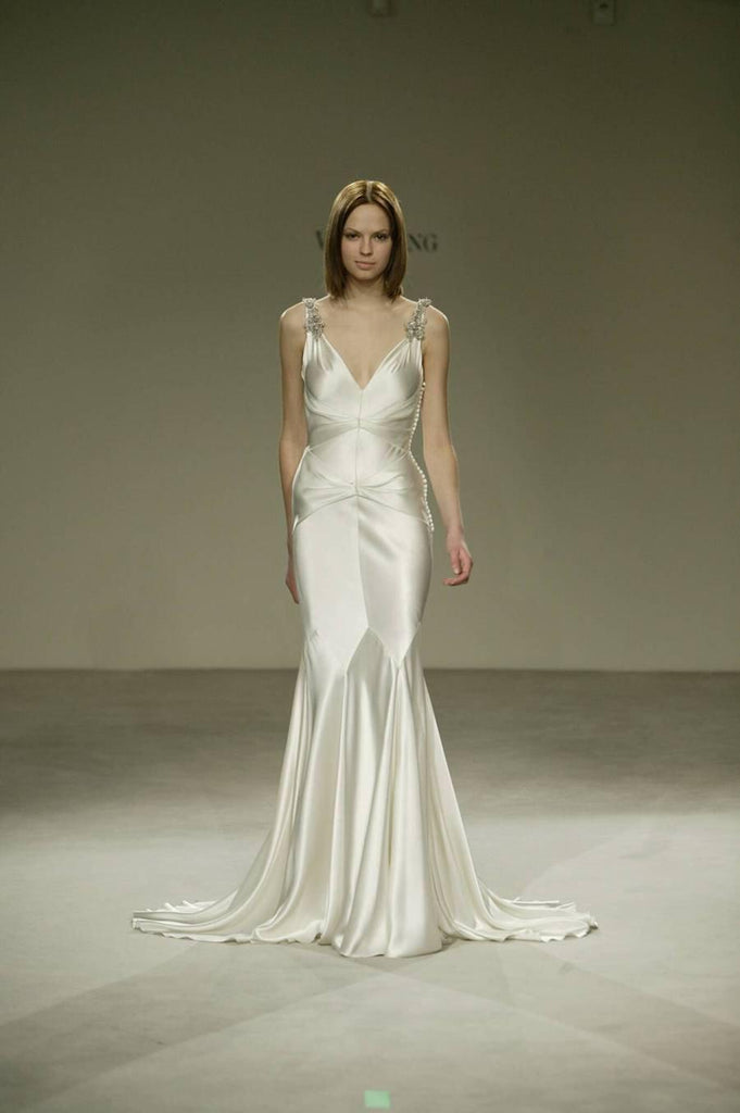 Vera Wang V-neck Silk Old Hollywood Wedding Dress - Vera Wang - Nearly Newlywed Bridal Boutique - 1