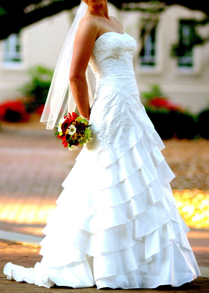 Allure Romance Fit and Flare Strapless Wedding Gown - Allure - Nearly Newlywed Bridal Boutique - 3