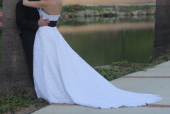 David's Bridal 'Michelangelo' size 6 used wedding dress back view on bride