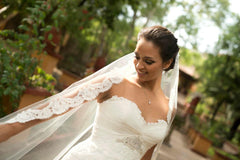 Enzoani 'Eva' size 6 used wedding dress view of veil